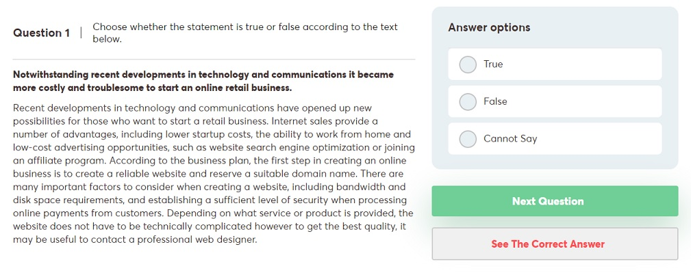 Verbal reasoning test in Deloitte