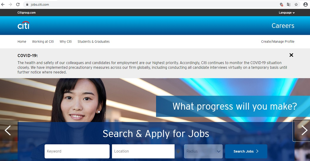 citibank career website jobsearch