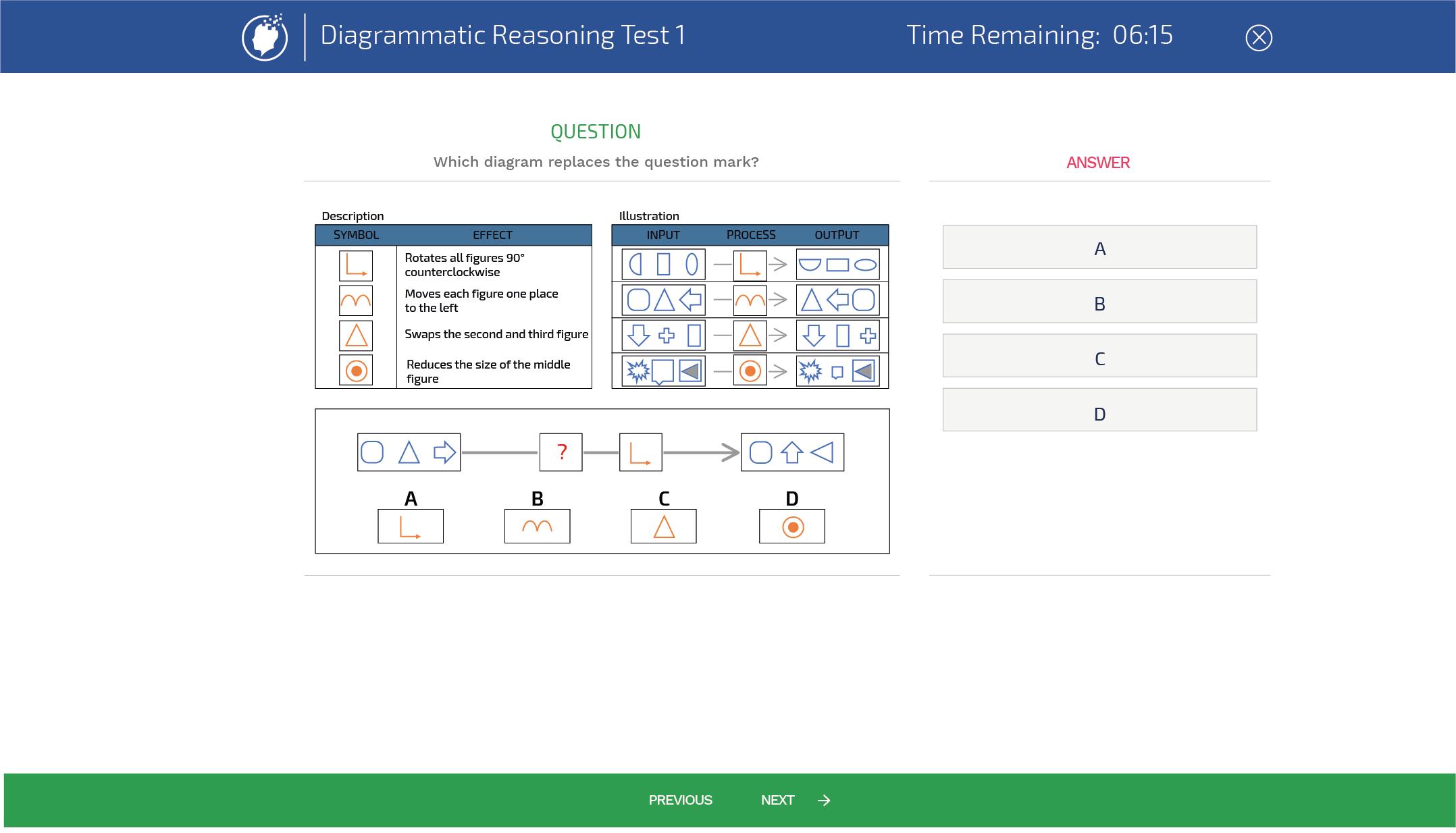 Diagrammatic reasoning tests example shape diagrams